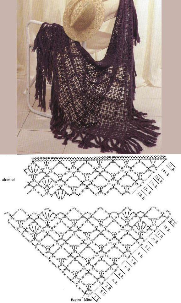 Hermoso Chal Tejido a Crochet Muy Facil de Tejer !